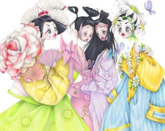 Dior pop surrealism Geisha fashion illustration art print