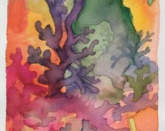 Abstract Original Watercolor Landscape