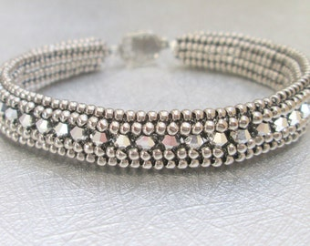 swarovski crystal bracelet silver beaded jewelry sterling silver bangle