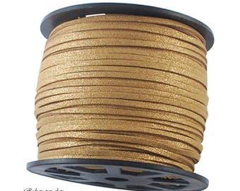 "5 m cord ""Brown glittery"" 3 mm x 1.5 mm - cheap!"