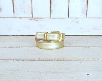 Vintage Capezio metallic gold leather belt/gold Christmas/New Years/holiday belt/leather statement belt/medium/large