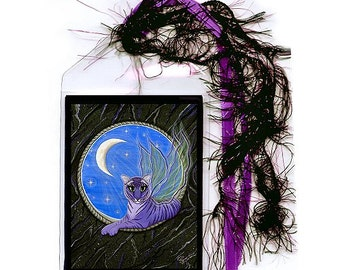 Tiger Fairy Cat Bookmark Purple Tiger Cat Bookmarker Fantasy Cat Art Mini Bookmark Gift For Cat Lover
