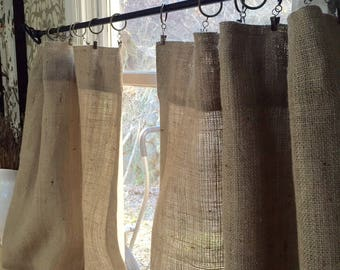 Burlap panel cafe curtains