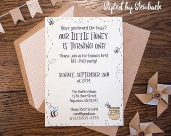 Bee Birthday Party Invitation - PRINTABLE