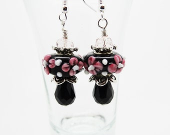 Black Drop Earrings, Black Earrings, Black Crystal Earrings, Crystal Earrings, Drop Earrings, Black Dangle Earrings, Lampwork Earrings