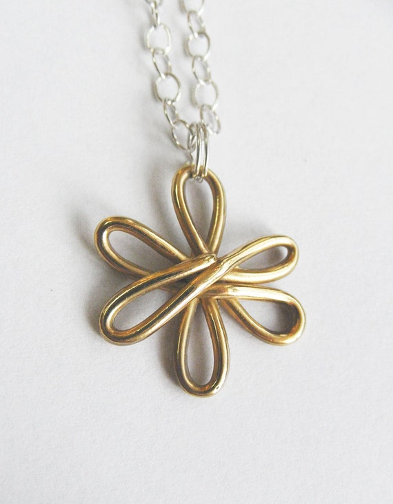 Solid Gold Flower Necklace