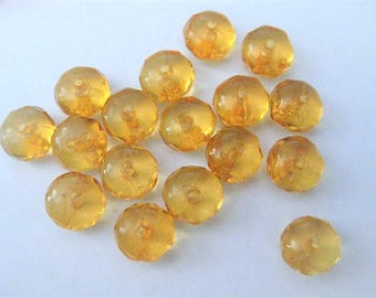 Jewelry Supplies ~ Golden Yellow Acrylic Beads   9mm   drilled   17pc