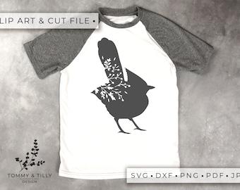 Bird No.3 Silhouette - Clipart & Cut File - Hand Papercutting - Cricut / Silhouette - SVG DXF PNG Pdf Jpg - Kids Children Nursery