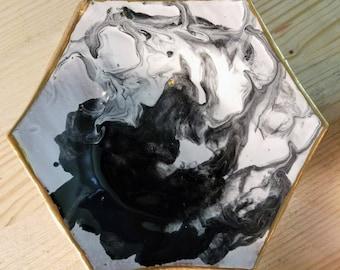 Black Swirl Ceramic Hexagon Jewelry Dish/Ring Dish/Display Dish