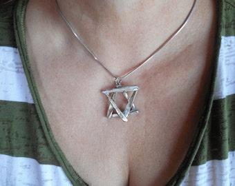 Vintage Silver Fork Star Of David Pendant