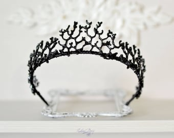 Gothic Crown Black Queen Black Tiara coral twigs headband Black metal branches Crown Gothic Fantasy crown Halloween headband