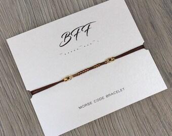 Mors code bracelet   free shipping   BFF   friendship   brown   bronze   minimalistic   friends