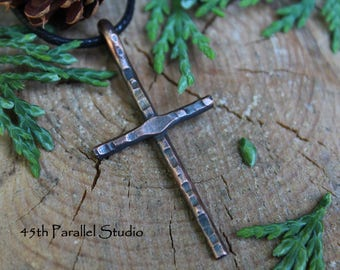 Rustic Hammered Cross, Copper Pendant, Hammered Cross Necklace, Small Cross Men, Christian Necklace, Religious Necklace, Copper Necklace Men