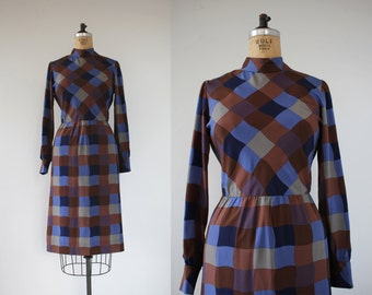 vintage 1960s dress / 60s long sleeve dress / 60s plaid dress / 60s brown blue dress / 60s check print dress / 60s silky dress / Large L