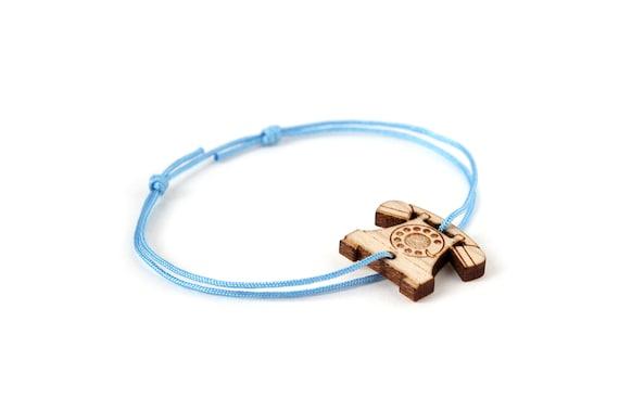 Vintage telephone bracelet - 25 colors - retro bangle - adjustable length - lasercut maple wood - graphic jewelry - unisex - customizable