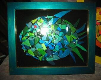 Mosaic Fish Wall ARt in Bright Colors
