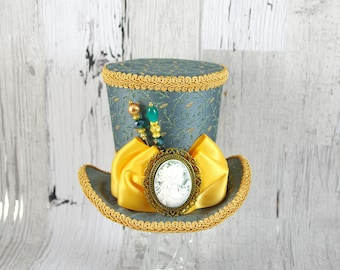 Teal and Gold Cameo Minimalist Large Mini Top Hat Fascinator, Alice in Wonderland, Mad Hatter Tea Party, Derby Hat