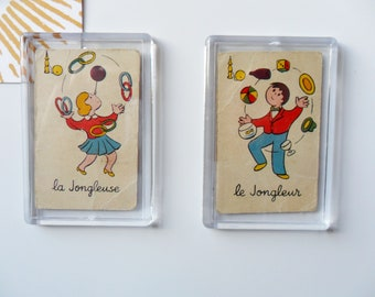Magnets old maps of Mistigri, juggling and juggling