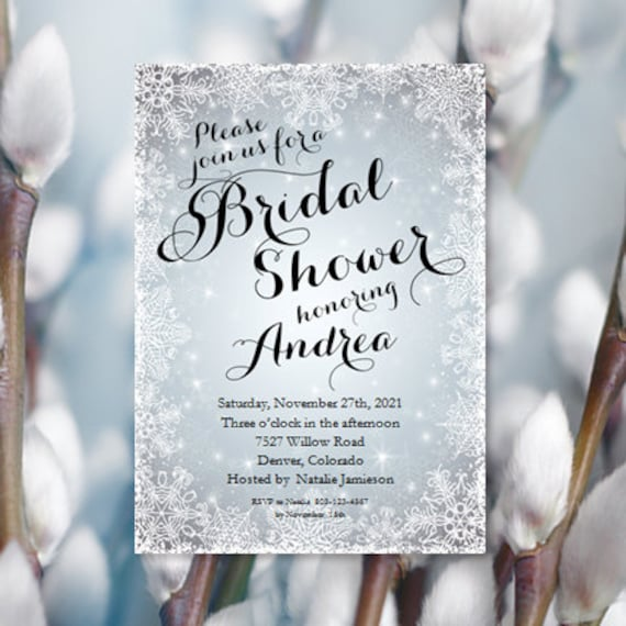 Snowflake bridal shower invitations winter wedding shower snowflake bridal shower invitations winter wedding shower printable bridal shower invitation templates make your own invitations diy u print filmwisefo Choice Image
