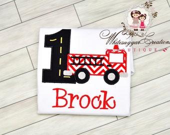 Baby Boy 1st Birthday Shirt - PREMIUM Personalized Shirt - Fire Truck Birthday Tee-  1st Birthday Outfit - Firefighter Party Boy Shirt