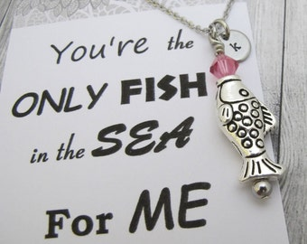 Friendship Gift-Fish necklace-Long distance relationship-Initial Necklace-Gift for girlfriend-Love Card-Marine Jewelry-Relationship Gift