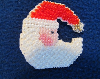 Handmade Beaded Christmas Holiday Crescent Shaped Santa