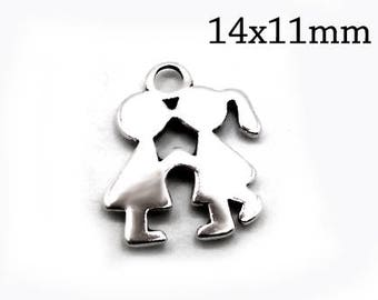 2pcs Sterling Silver Couple, Silver Couple Pendant, Kissing Couple Pendant, Kissing Kids Charm, JBB FIndings, Silver Kiss Pendant