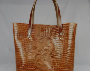 Leather Tote Bag Large Handmade Tan Crocodile Print // Upcycled Vintage Brown Leather Shopping Handbag