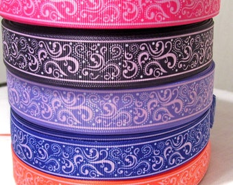 Ribbon grosgrain printed * 22 mm * curve VOLUTE ARABESQUE - sold by the yard