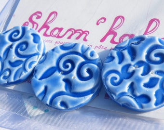 Blue flower buttons - polymer