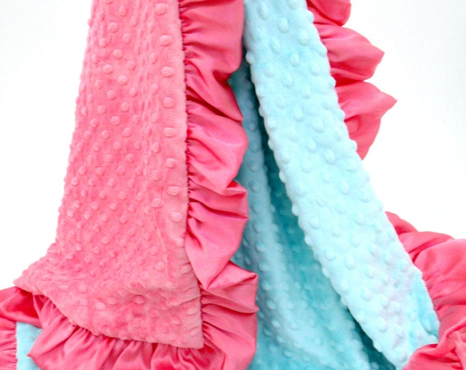 Coral and Robin's Egg Blue Baby Blanket for Girl