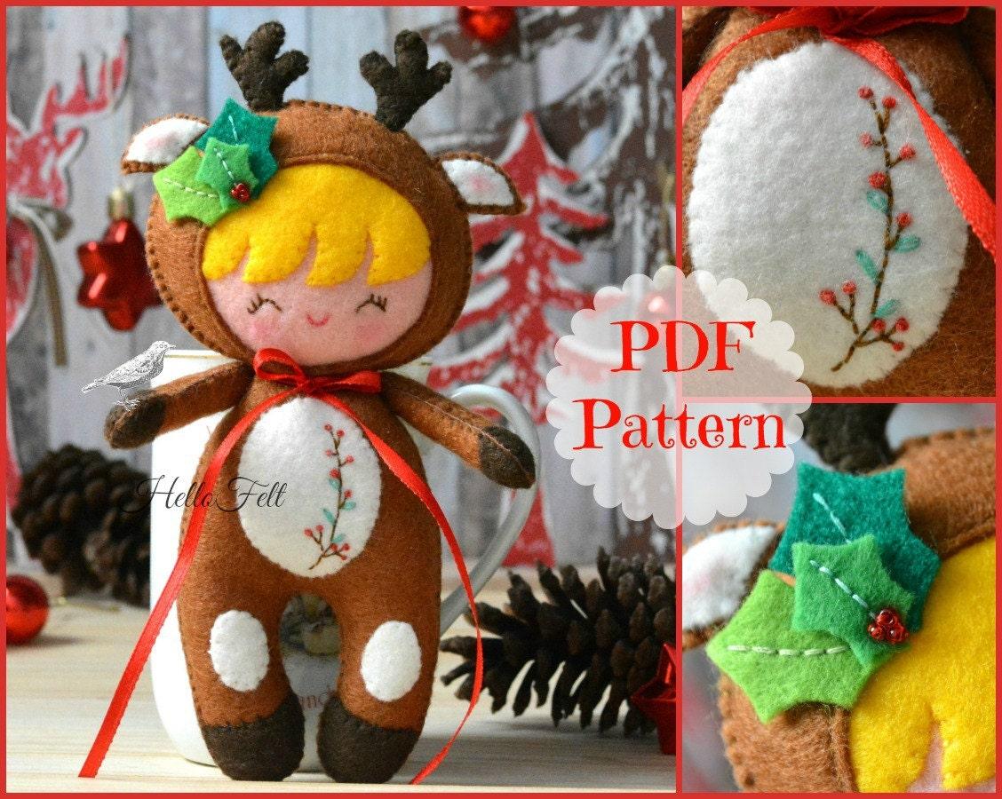 PDF Felt Pattern: Little Reindeer Kid, Felt Pattern, Doll Pattern ...