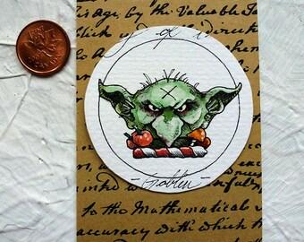 Goblin Watercolor Painting Original Miniature Drawlloween Art
