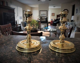 Set of Baldwin Brass Candle Holders or Candle Sticks