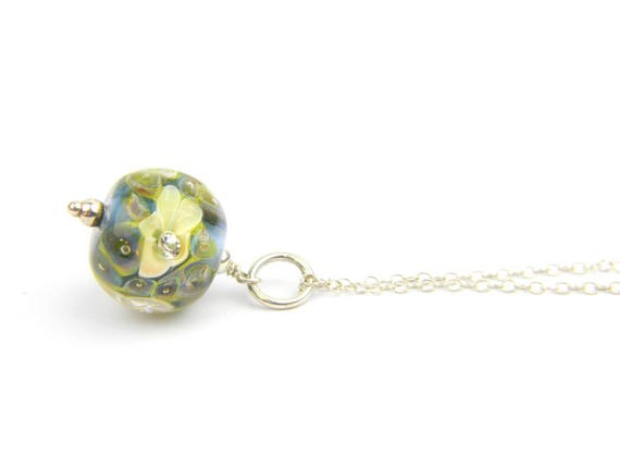 Art Glass Pendant - Medium Blue and Yellow Art Glass Bead Sterling Silver Pendant - Classic Collection