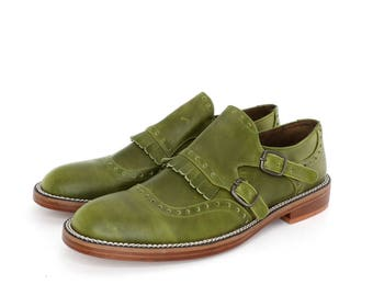 Monk Straps Shoes in Marble Green
