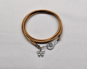 Leather wrap bracelet, Butterfly