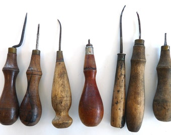 7 awl tools hand woodworking antique primitive vintage leather work metal work crafts brass copper