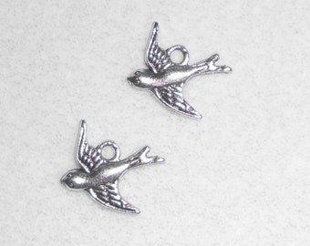 Silver Flying Bird Charms