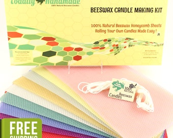 Beeswax Candle Making Kit - 10 Assorted-Color Honeycomb Sheets, Instructions, & Cotton Wick - Free Shipping!