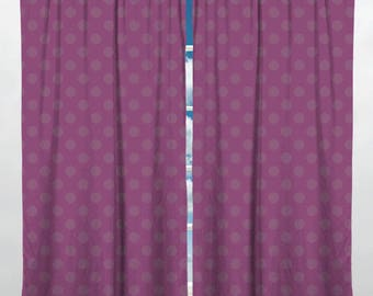 Purple Polka Dots Window Curtain. Magenta Dots Curtain, Polka Dots Valance, Magenta Dots Window Curtains, Purple Valances