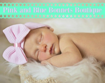 Baby girl hats with Bow Hat Newborn Hospital Hat pink striped Baby Hat Newborn Baby Hat for Girl Baby Hat with Bow Pink Baby Hat with Bow