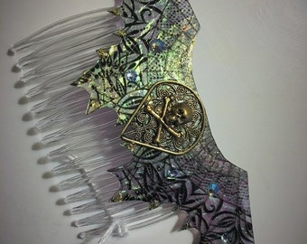 Decorative Fantasy Fairy Pirate Mermaid Gothic Wings with Skull and Crossbones Hair Comb