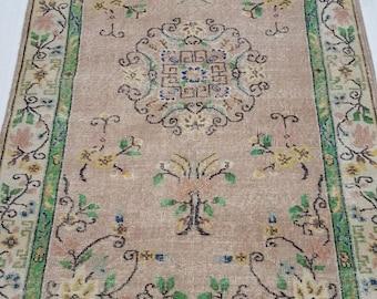 4 by 7 rug, Vintage Oushak Rug, Vintage Rug, Oushak Area Rug, Turkish Vintage Rug, Oushak Rug, Area Rug, Kitchen Rug, Boho Rug, Low Pile Rug