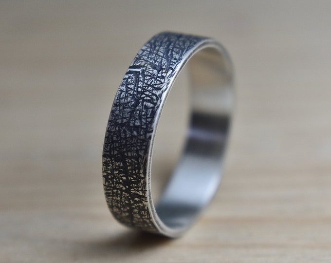 Featured listing image: Mens Raw Brushed Silver Wedding Band Ring. Organic Oxidized Silver Wedding Band Ring for Men. Satin Finish Wedding Band. Wedding Band Ring