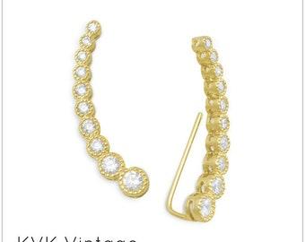 Textured 14 Karat Gold Plated Bezel CZ Ear Climbers -  Ear Climbers - Ear Climber Earrings