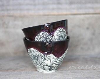 Smokey Merlot vintage bowls, wine cup, tea bowl, prep bowl, kitchen decor, cute pottery bowl, vintage bowl, dessert bowl, ceramic art
