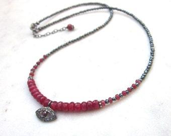Evil eye ruby necklace, pavé diamond & red spinel necklace, boho chic diamond charm necklace, hematite necklace, black red gemstone necklace