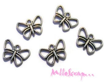 Set of 5 charms silver embellishment butterflies scrapbooking jewelry *.