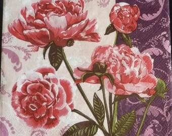 Red tulips napkin